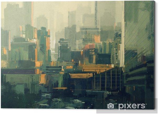Bild auf Alu-Dibond Stadtbildmalerei von städtischen Wolkenkratzern bei Sonnenuntergang - Gebäude und Architektur