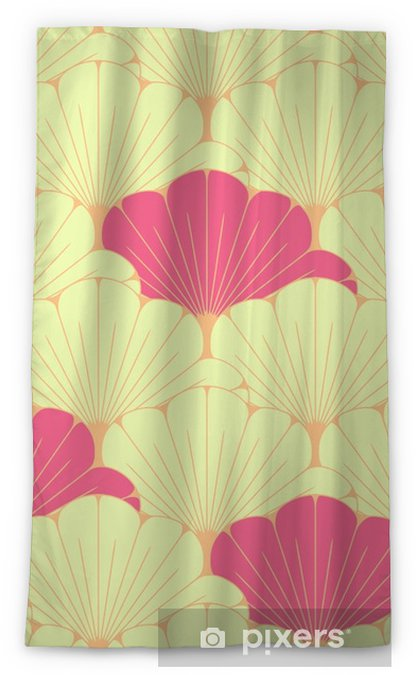 a Japanese style seamless tile with exotic foliage pattern in pink Blackout Window Curtain - Graphic Resources