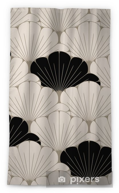 a Japanese style seamless tile with exotic foliage pattern in soft brown and black Blackout Window Curtain - Graphic Resources