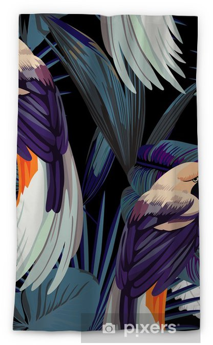 birds, orchids and night jungle seamless background Blackout Window Curtain - Animals