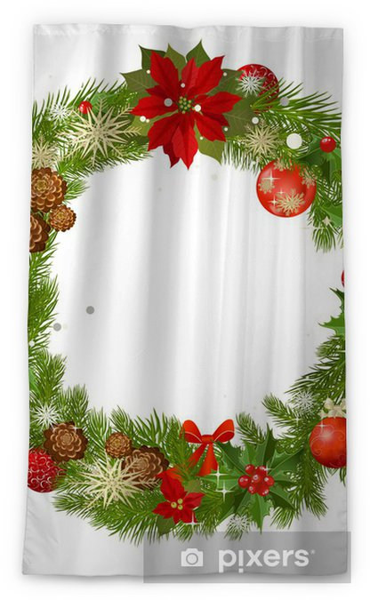 Christmas Garland Vector Frame Blackout Window Curtain Pixers
