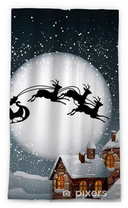 christmas illustration of santa and his reindeer blackout window