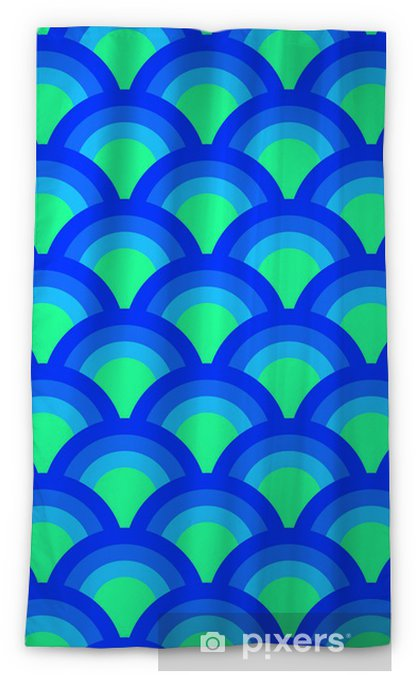 Colorful asian scallop seamless pattern in blue, vector Blackout Window Curtain - Backgrounds