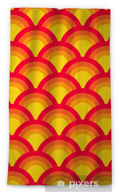 Colorful asian scallop seamless pattern in red and yellow Blackout Window Curtain - Backgrounds
