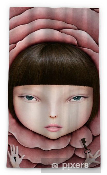 Conceptual illustration or poster with head of girl in rose petal with key in his hand. Blackout Window Curtain - Hobbies and Leisure