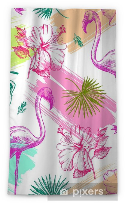 Decorative seamless pattern with ink hand-drawn Tropical hibiscus flowers, leaves and flamingo bird. Vector illustration. Blackout Window Curtain - Graphic Resources