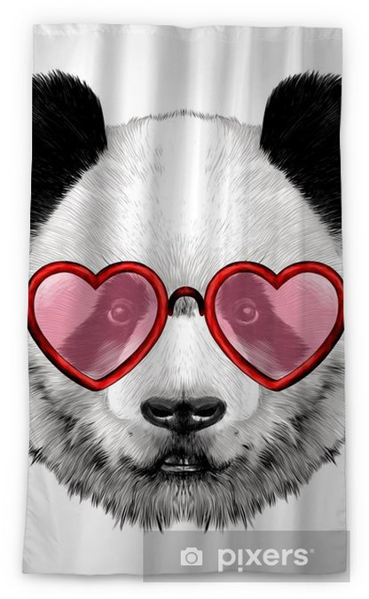 Head Panda With Glasses In Heart Shape Sketch Vector