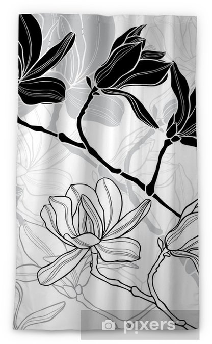 Monochrome seamless background with magnolia. Blackout Window Curtain - Flora