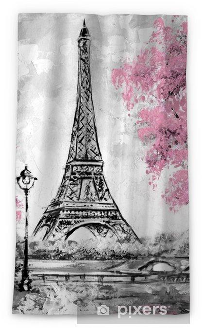 Oil Painting Paris European City Landscape France Wallpaper Eiffel Tower Black White And Pink Modern Art Blackout Window Curtain Pixers We Live To Change