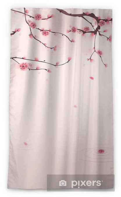 Oriental Style Painting Cherry Blossom In Spring Blackout Window Curtain