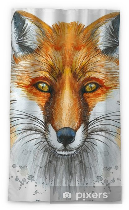Painted With A Watercolor Drawing Of A Red Fox The Head