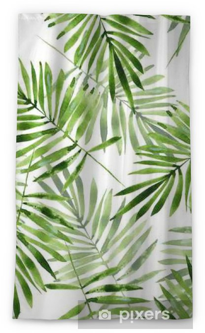 Palm leaves. Watercolor seamless pattern 2 Blackout Window Curtain - Graphic Resources