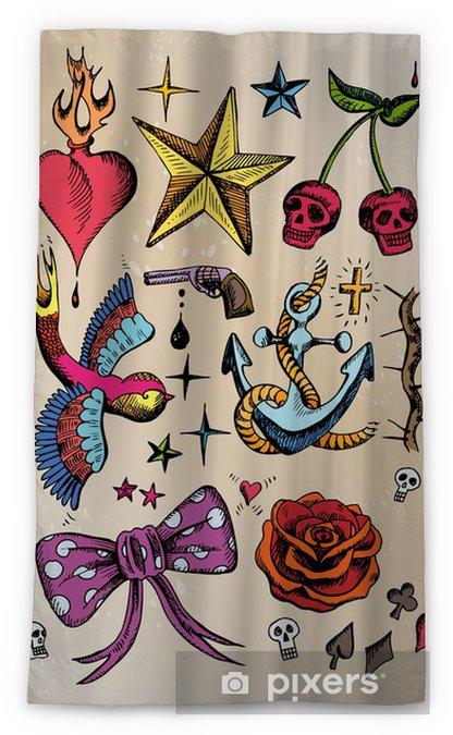 Rockabilly Tattoo Vorlagen Farbig Blackout Window Curtain Pixers