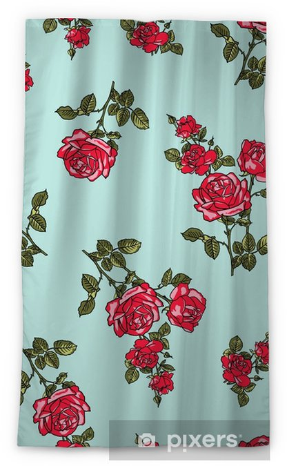 rose flower red green seamless vector pattern Blackout Window Curtain - Lifestyle