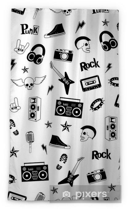 Punk Rock Music Isolated On White Background Doodle Design Elements Emblems Badges Logo And Icons Blackout Window Curtain