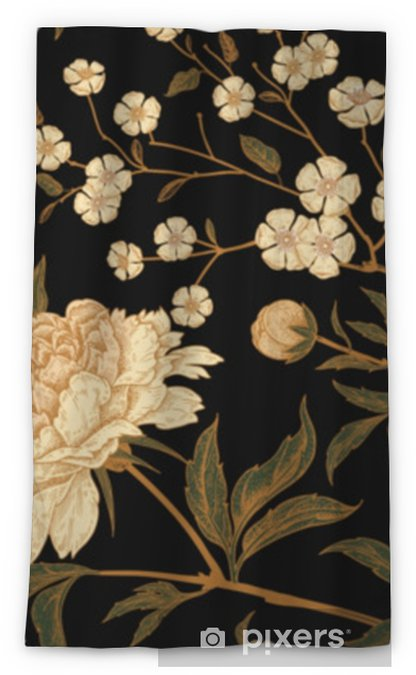Seamless pattern with exotic bird pheasants and peony flowers. Blackout Window Curtain - Plants and Flowers