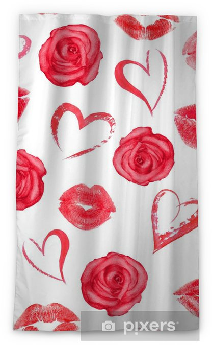 Seamless pattern with roses, hearts and trace lips kisses Blackout Window Curtain - Plants and Flowers