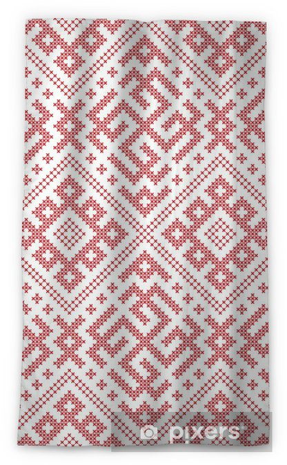 Seamless Russian folk pattern, cross-stitched embroidery imitation   Patterns consist of ancient Slavic amulets  Swatch included in vector file
