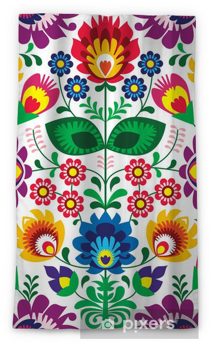 Seamless traditional floral polish pattern - ethnic background Blackout Window Curtain - Styles