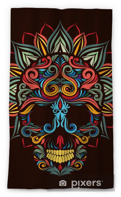 Skull And Lotus Flower Blackout Window Curtain Pixers We Live