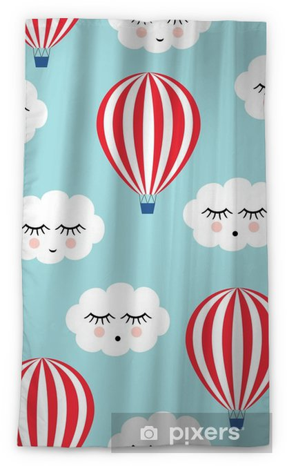 Smiling Sleeping Clouds And Hot Air Balloons Seamless Pattern Cute Baby Shower Vector Background Child Drawing Style Blackout Window Curtain
