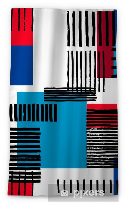 Striped geometric seamless pattern. Hand drawn uneven black stripes on colorful rectangles, free layout. Red and blue sporty tones. Textile design. Blackout Window Curtain - Graphic Resources