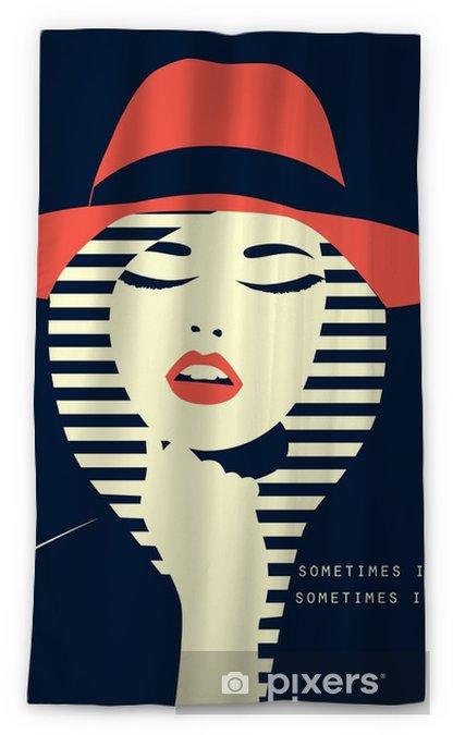 e06d8b050 stylized sexy woman with hut Blackout Window Curtain • Pixers® • We ...