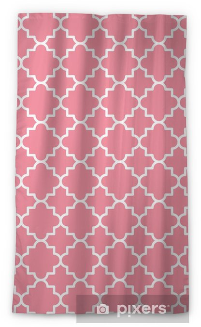 Traditional quatrefoil lattice pattern outline. Pink quatrefoil background. Vector illustration. Blackout Window Curtain - Graphic Resources