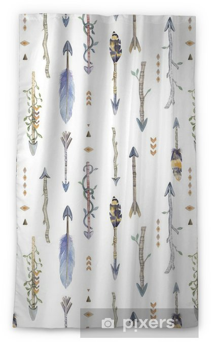 Watercolor boho seamless pattern with arrows. Decoration native Blackout Window Curtain - Graphic Resources