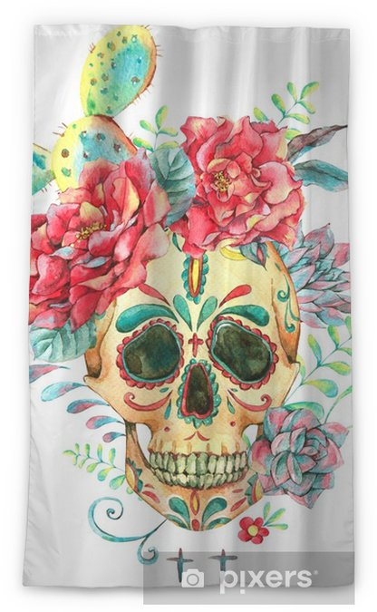 Watercolor card with skull and roses Blackout Window Curtain - Plants and Flowers
