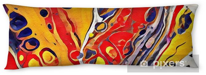 Abstract acrylic flat painting with cell Body Pillow - Graphic Resources