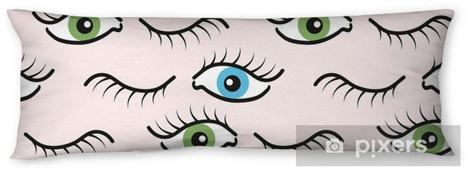 Abstract seamless pattern with open and closed eyes. Eyelashes background illustration. Body Pillow - Graphic Resources