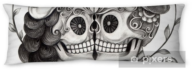 dfebb979f Art Skull Day of the dead.Art design skull wedding in love action smiley  face day of the dead festival hand pencil drawing on paper. Body Pillow