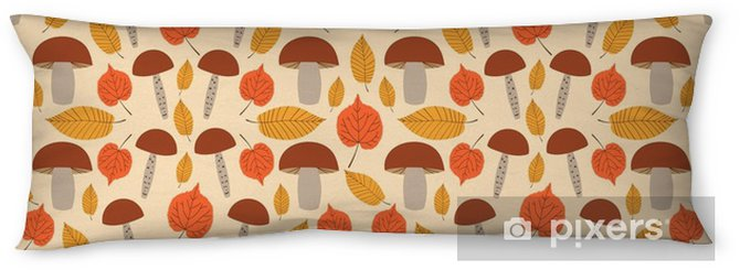 Autumn Forest Pattern Vector Seamless Gold Tree Leaves And Mushrooms Background Nature Print For Seasonal Banner Kids Wallpaper Natural Package