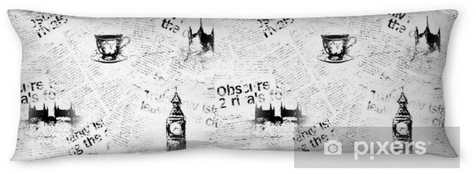 Black And White London Newspaper Background Body Pillow Pixers