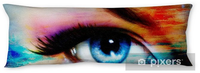 Blue woman eye with violet and pink day makeup. Color painting Body Pillow - People