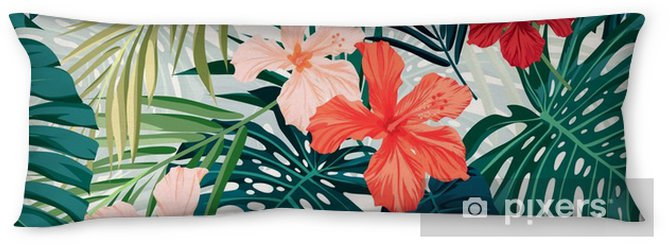 Bright colorful tropical seamless background with leaves and Body Pillow - Plants and Flowers