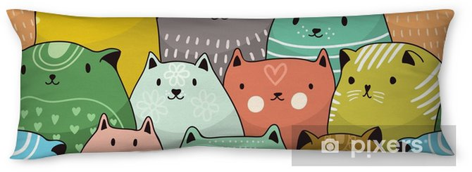Cats seamless pattern Body Pillow - Graphic Resources