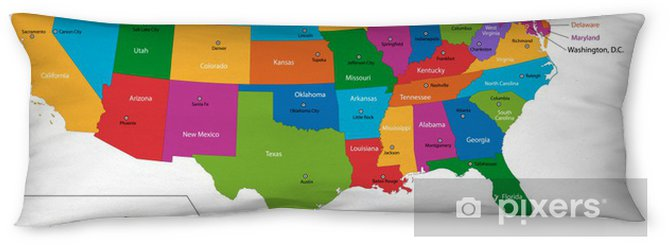 Colorful USA map with states and capital cities Body Pillow