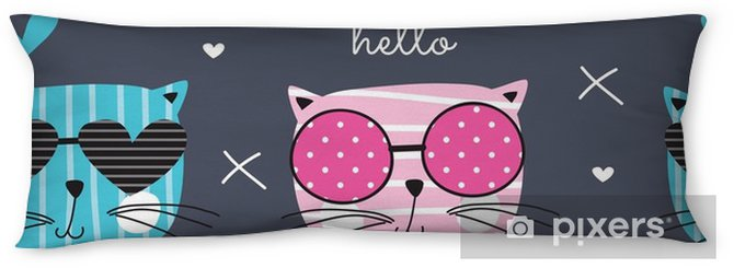 cute fashion cat pattern vector illustration Body Pillow - Animals