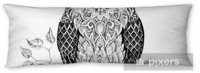 Drawing owl with beautiful patterns Body Pillow - Animals