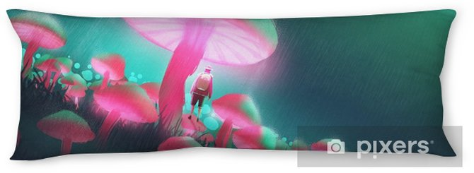 hiker man in the big mushrooms forest at rainy night,illustration painting Body Pillow - Hobbies and Leisure