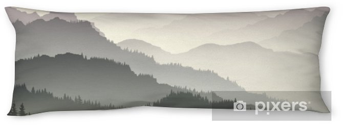 Horizontal illustration of twilight in forest hills. Body Pillow - Landscapes