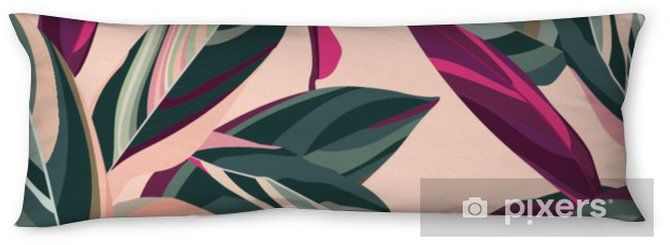 Leaves of Cordelia on a pink background. Floral seamless pattern. Body Pillow - Plants and Flowers