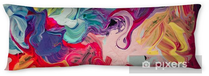 macro close up of different color oil paint. colorful acrylic. modern art concept. Body Pillow - Hobbies and Leisure