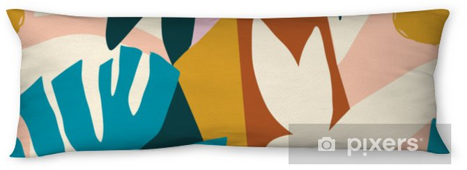 Modern exotic jungle fruits and plants illustration in vector. Body Pillow - Plants and Flowers