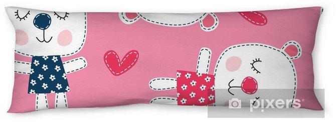 seamless teddy bear pattern vector illustration Body Pillow