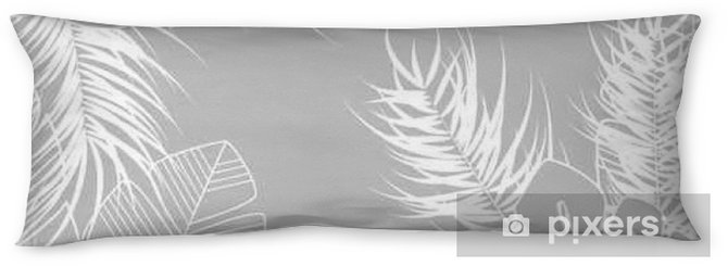 Summer seamless tropical pattern with monstera palm leaves and plants on gray background Body Pillow - Graphic Resources