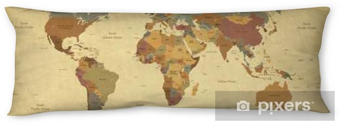 Textured vintage world map - English/US Labels - Vector CMYK Body Pillow - Travel