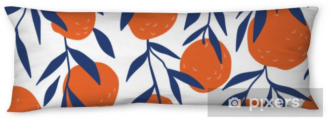 Tropical seamless pattern with red oranges. Fruit repeated background. Vector bright print for fabric or wallpaper. Body Pillow - Graphic Resources